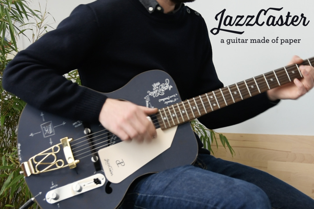 a guitar made of paper