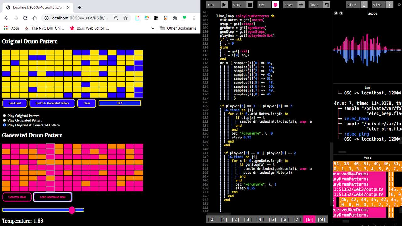 A GUI that uses Magenta Drum RNN to create and generate drum patterns to send to Sonic Pi via OSC.