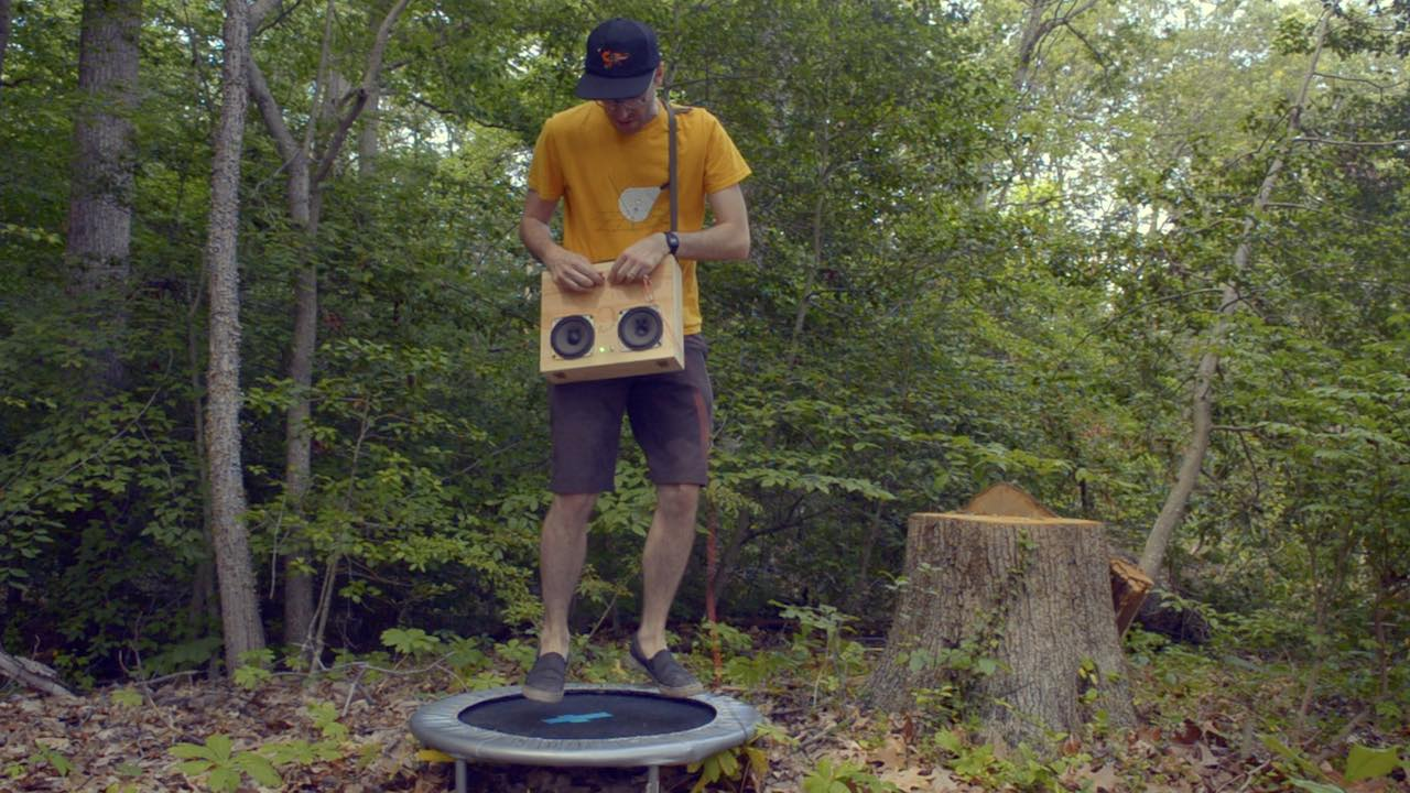 a trampoline-based portable synthesizer for making noise in the woods alone