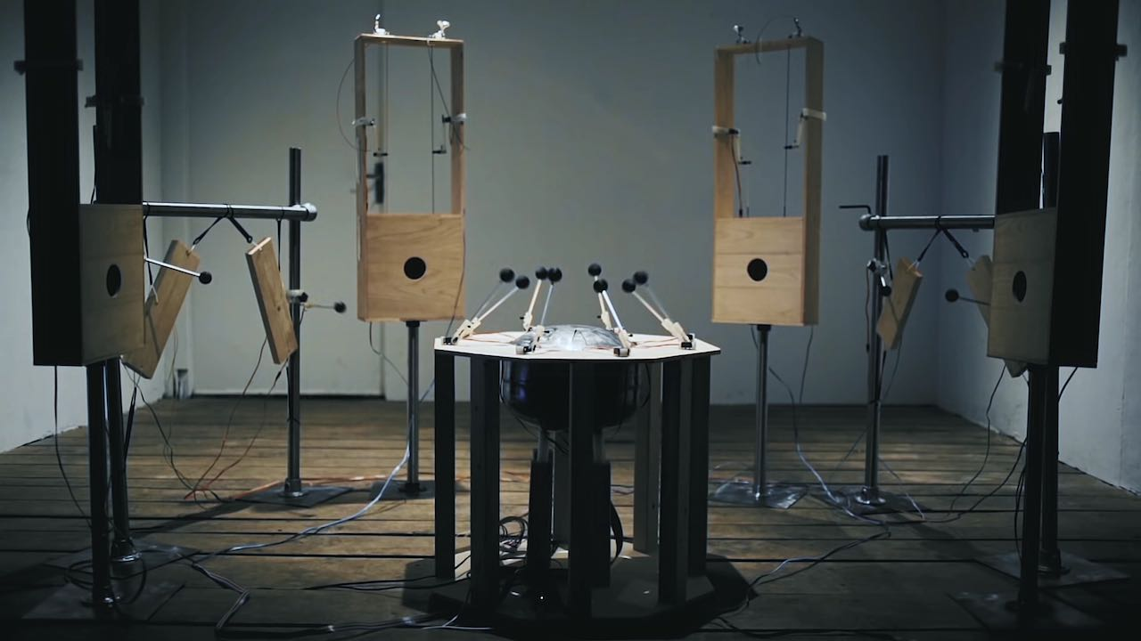 An electronic-ambient band and Ork.1, une orchestra of DIY motorized instruments