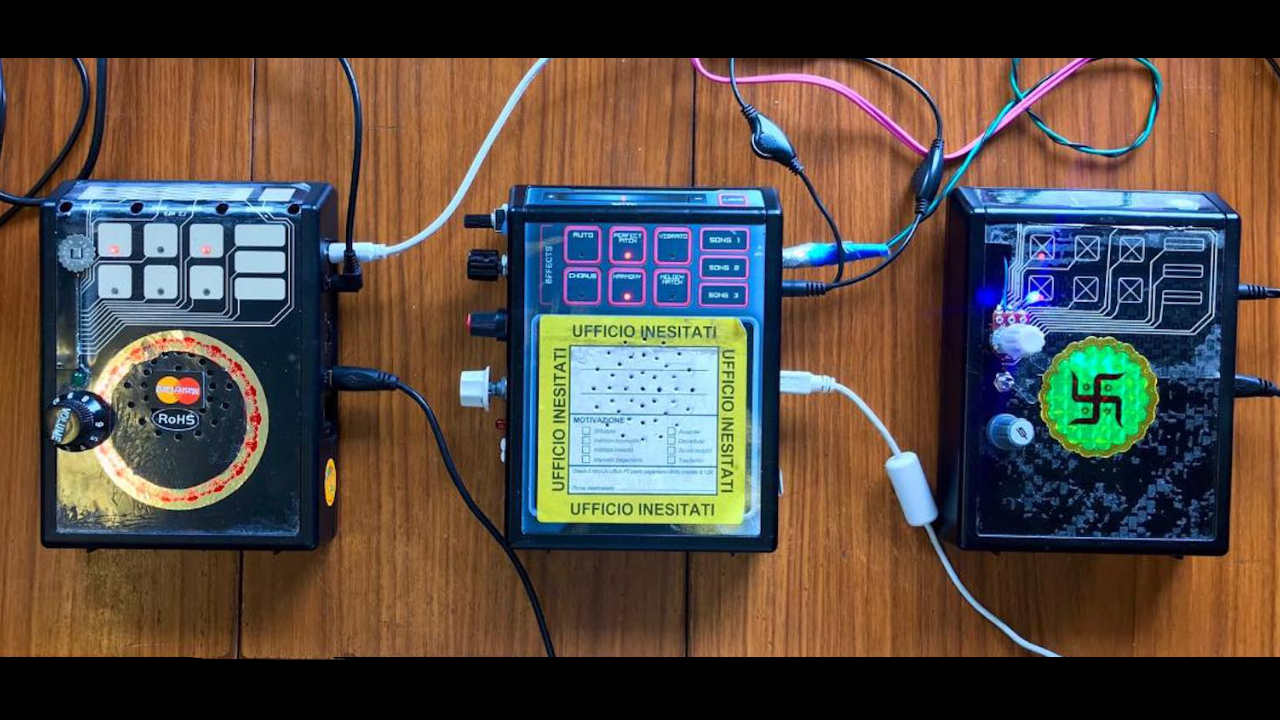 Circuit-bent PaperJamzPro devices